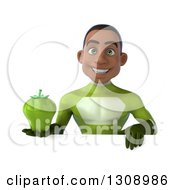 Clipart Of A 3d Young Black Male Super Hero In A Green Suit Holding A Bell Pepper Over A Sign Royalty Free Illustration