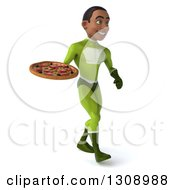 Clipart Of A 3d Young Black Male Super Hero In A Green Suit Walking To The Right With A Pizza Royalty Free Illustration