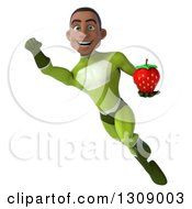 Clipart Of A 3d Young Black Male Super Hero In A Green Suit Flying And Holding A Strawberry 2 Royalty Free Illustration