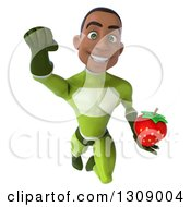 Clipart Of A 3d Young Black Male Super Hero In A Green Suit Flying And Holding A Strawberry Royalty Free Illustration