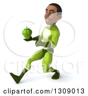 Clipart Of A 3d Young Black Male Super Hero In A Green Suit Speed Walking To The Left And Holding A Bell Pepper Royalty Free Illustration
