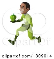Clipart Of A 3d Young Black Male Super Hero In A Green Suit Sprinting To The Left And Holding A Bell Pepper Royalty Free Illustration