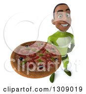 Clipart Of A 3d Young Black Male Super Hero In A Green Suit Holding Up A Pizza Royalty Free Illustration