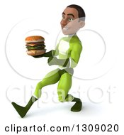 Clipart Of A 3d Young Black Male Super Hero In A Green Suit Speed Walking To The Left And Holding A Double Cheeseburger Royalty Free Illustration