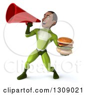 Clipart Of A 3d Young Black Male Super Hero In A Green Suit Holding A Double Cheeseburger And Using A Megaphone Royalty Free Illustration