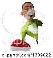 Clipart Of A 3d Young Black Male Super Hero In A Green Suit Holding A Beef Steak Around A Sign Royalty Free Illustration