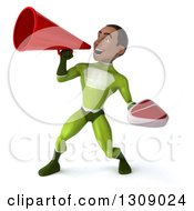 Clipart Of A 3d Young Black Male Super Hero In A Green Suit Holding A Beef Steak And Using A Megaphone Royalty Free Illustration