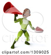 Clipart Of A 3d Young Black Male Super Hero In A Green Suit Holding A Beef Steak And Using A Megaphone 2 Royalty Free Illustration