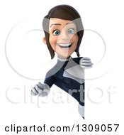 Clipart Of A 3d Brunette White Female Super Hero In A Black And White Suit Pointing Outwards Around A Sign Royalty Free Illustration