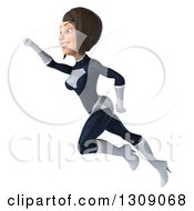 Clipart Of A 3d Brunette White Female Super Hero In A Black And White Suit Flying Up To The Right Royalty Free Illustration by Julos
