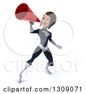 Clipart Of A 3d Brunette White Female Super Hero In A Black And White Suit Announcing With A Megaphone Royalty Free Illustration by Julos