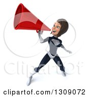 Clipart Of A 3d Brunette White Female Super Hero In A Black And White Suit Announcing Upwards With A Megaphone Royalty Free Illustration by Julos