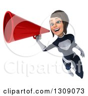 Clipart Of A 3d Brunette White Female Super Hero In A Black And White Suit Flying And Announcing With A Megaphone Royalty Free Illustration by Julos