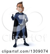 Clipart Of A 3d Young Indian Male Super Hero Dark Blue Suit Giving A Thumb Up Royalty Free Illustration by Julos