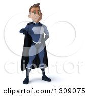 Clipart Of A 3d Young Indian Male Super Hero Dark Blue Suit Giving A Thumb Down Royalty Free Illustration by Julos