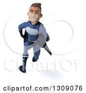 Clipart Of A 3d Young Indian Male Super Hero Dark Blue Suit Sprinting Royalty Free Illustration by Julos