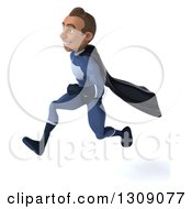 Clipart Of A 3d Young Indian Male Super Hero Dark Blue Suit Sprinting To The Left Royalty Free Illustration by Julos