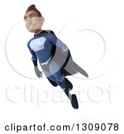 Clipart Of A 3d Young Indian Male Super Hero Dark Blue Suit Flying Facing Slightly Left Royalty Free Illustration by Julos