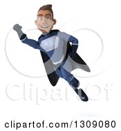 Clipart Of A 3d Young Indian Male Super Hero Dark Blue Suit Flying 2 Royalty Free Illustration by Julos