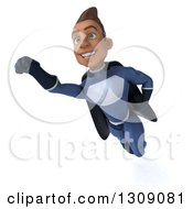 Clipart Of A 3d Young Indian Male Super Hero Dark Blue Suit Flying Royalty Free Illustration by Julos