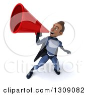 Clipart Of A 3d Young Indian Male Super Hero Dark Blue Suit Announcing Upwards With A Megaphone Royalty Free Illustration by Julos