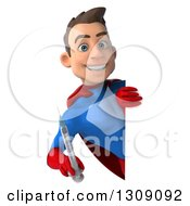 Clipart Of A 3d Young Brunette White Male Super Hero In A Blue And Red Suit Holding A Giant Vaccine Syringe Around A Sign Royalty Free Illustration
