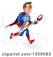 Clipart Of A 3d Young Brunette White Male Super Hero In A Blue And Red Suit Sprinting To The Right And Holding A Giant Tootbhrush Royalty Free Illustration