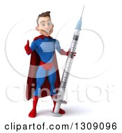 Clipart Of A 3d Young Brunette White Male Super Hero In A Blue And Red Suit Giving A Thumb Up And Holding A Giant Vaccine Syringe Royalty Free Illustration