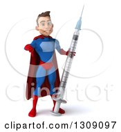 Clipart Of A 3d Young Brunette White Male Super Hero In A Blue And Red Suit Giving A Thumb Down And Holding A Giant Vaccine Syringe Royalty Free Illustration