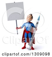 Clipart Of A 3d Young Brunette White Male Super Hero In A Blue And Red Suit Holding Up And Looking At A Blank Sign And A Giant Vaccine Syringe Royalty Free Illustration