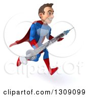 Clipart Of A 3d Young Brunette White Male Super Hero In A Blue And Red Suit Sprinting To The Right And Holding A Giant Vaccine Syringe Royalty Free Illustration
