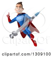 Clipart Of A 3d Young Brunette White Male Super Hero In A Blue And Red Suit Flying Holding Up A Finger And A Giant Vaccine Syringe Royalty Free Illustration