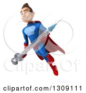 Clipart Of A 3d Young Brunette White Male Super Hero In A Blue And Red Suit Facing Slightly Let Holding A Vaccine Syringe And Flying Royalty Free Illustration