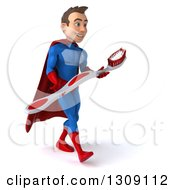 Clipart Of A 3d Young Brunette White Male Super Hero In A Blue And Red Suit Walking Slightly Right And Carrying A Giant Toothbrush Royalty Free Illustration