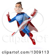 Clipart Of A 3d Young Brunette White Male Super Hero In A Blue And Red Suit Flying Holidng Up A Finger And A Giant Toothbrush Royalty Free Illustration