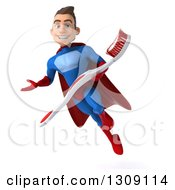 Clipart Of A 3d Young Brunette White Male Super Hero In A Blue And Red Suit Flying Presenting And Holding A Giant Tootbhrush Royalty Free Illustration