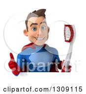 Clipart Of A 3d Young Brunette White Male Super Hero In A Blue And Red Suit Holding A Giant Tootbhrush And Giving A Thumb Up Over A Sign Royalty Free Illustration