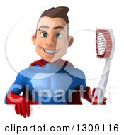 Clipart Of A 3d Young Brunette White Male Super Hero In A Blue And Red Suit Holding A Giant Tootbhrush Over A Sign Royalty Free Illustration