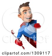 Clipart Of A 3d Young Brunette White Male Super Hero In A Blue And Red Suit Holding A Giant Tootbhrush Around A Sign Royalty Free Illustration