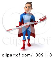 Clipart Of A 3d Young Brunette White Male Super Hero In A Blue And Red Suit Walking And Holding A Giant Tootbhrush Royalty Free Illustration