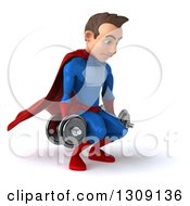 Clipart Of A 3d Young Brunette White Male Super Hero In A Blue And Red Suit Facing Slightly Right Working Out And Doing Squats With Dumbbells Royalty Free Illustration