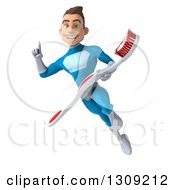 Clipart Of A 3d Young Brunette White Male Super Hero In A Blue Suit Holding Up A Finger And Flying With A Giant Toothbrush Royalty Free Illustration