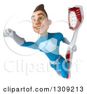 Clipart Of A 3d Young Brunette White Male Super Hero In A Blue Suit Flying With A Giant Toothbrush Royalty Free Illustration