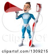 Clipart Of A 3d Young Brunette White Male Super Hero In A Blue Suit Holding A Giant Toothbrush And Announcing With A Megaphone Royalty Free Illustration