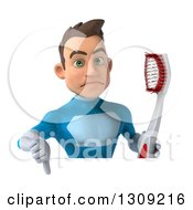 Clipart Of A 3d Young Brunette White Male Super Hero In A Blue Suit Holding A Giant Toothbrush And Thumb Down Over A Sign Royalty Free Illustration