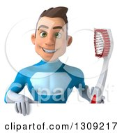 Clipart Of A 3d Young Brunette White Male Super Hero In A Blue Suit Holding A Giant Toothbrush Over A Sign Royalty Free Illustration