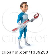 Clipart Of A 3d Young Brunette White Male Super Hero In A Blue Suit Facing Slightly Right And Holding A Toothbrush Royalty Free Illustration