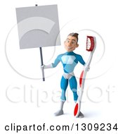 Clipart Of A 3d Young Brunette White Male Super Hero In A Blue Suit Holding A Giant Toothbrush And Blank Sign Royalty Free Illustration