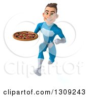 Clipart Of A 3d Young Brunette White Male Super Hero In A Blue Suit Sprinting And Holding A Pizza Royalty Free Illustration