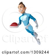 Clipart Of A 3d Young Brunette White Male Super Hero In A Blue Suit Facing Slightly Left Flying And Holding A Beef Steak Royalty Free Illustration
